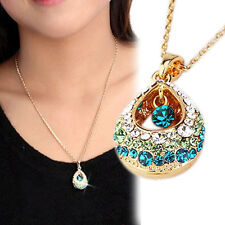 Pendant Chain Necklace Women Jewelry Fashion Princess Hollow Rhinestone Teardrop