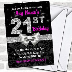 Pink Black Silver Diamond 21St Birthday Party Invitations