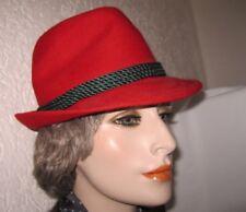 Roter Damen Hut rot mit grüner Kordel Trachtenhut Gr. 55 Damenhut