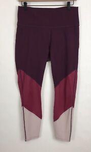 Fabletics Powerhold Leggings Burgundy Pink Size Large Yoga Gym Activewear