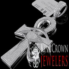 "Charm 0.40 Ct 10K White Gold Finish Real Diamond Evil Eye Ankh Cross Pendant 2"""
