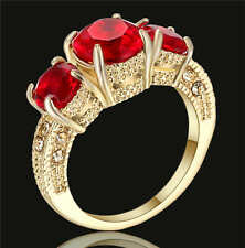 Fashion Ring Size 6 Red Ruby Women's 18K Yellow Gold Filled Wedding Jewelry