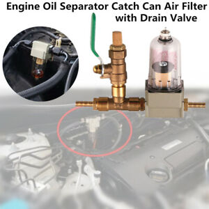 Car Engine Oil Separator Catch Can Air Filter w/ Drain Valve Fit For Chevy Honda
