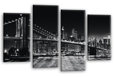 Brooklyn Bridge New York Skyline Black Panorama Canvas Wall Art Home Décor