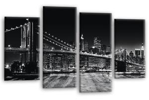 Brooklyn Bridge New York Skyline Black Panorama Canvas Wall Art Home Décor