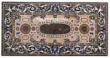 5'x3' Brown Marble Top Dining Table Pietra Dure Multi Stone Inlay Decor H3358B