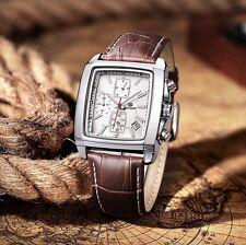 Belle Montre Chronographe de Luxe Classique pour Homme Megir Bracelet Cuir Date