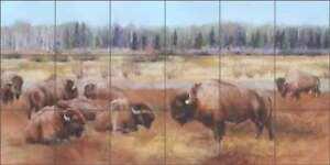Buffalo Tile Backsplash Ceramic Mural Hughbanks Bison Animal Art DHA067