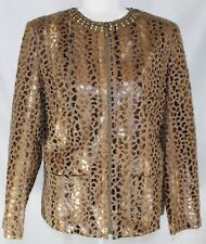 NWT Alfred Dunner Women's 12P Tan Brown Snake Skin Look Upscale Career Jacket