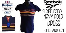 Reebok Girls Stripe Panel Navy Polo Dress Age 10/11 New With Tags