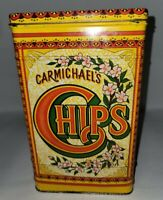 Vintage Carmichael's Chips Tin Can Canister Decorative Container With Lid Huge