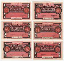 Germany 20 30 40 60 70 80 Pf 1921 Notgeld Kurzenmoor UNC Banknote Set - 6 pcs