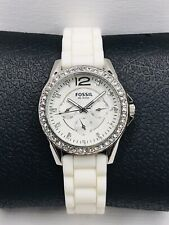 Ladies Fossil Watch ES2344 silicone band Swarovski crystals - New Battery - Nice