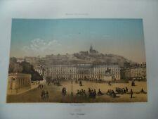 LYON - Place Bellecour - Lithographie de 1860 - Isidore-Laurent Deroy