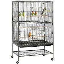 Rolling 52in Large Metal Parrot Bird Cage 3 Perches 4 Feeders Storage Shelf Rack