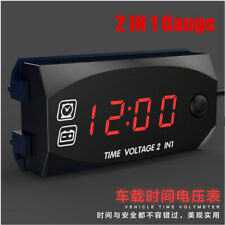 2 IN 1 Gauge Panel Meter Car Motorcycle Digital LED Voltmeter Voltage Time Clock