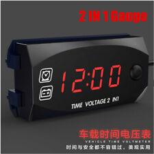 2 IN 1 Gauge Panel Meter Car Motorcycle Digital LED Voltmeter Voltage Time Clock
