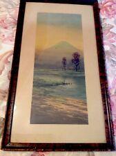 Vintage Framed Litho Print Japanese Countryside W/Volcano-Signed Shumin