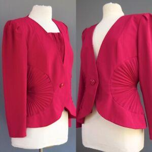 VTG Lilli Ann Fan Pleat Waist Fuchsia Jacket Coat Removable Dickie Stunning M