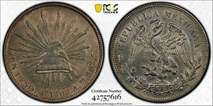 1908 Mo AM MEXICO PESO MEXICO CITY PCGS AU55  #42757616  EYE APPEAL! KM#409.2