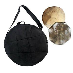 Schamanentrommel Tasche Rund Schwarz Baumwolle Gepolstert 50 cm mit Trageriemen