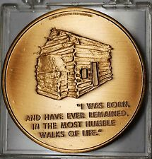 1973 Abraham Lincoln Presidential Log Cabin Home Large Bronze Medal