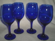"Set of 4 8"" Tall Dark Blue Wine Glasses Holds 10 Ounces Comfortably"