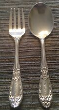 ANTIQUE SAART BROTHERS STERLING SILVER CHILD / BABY FORK AND SPOON W/ MONOGRAM