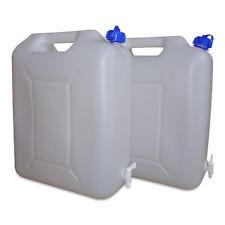2 x 20 L Trinkwasserkanister Camping natur inkl. Ablasshahn lebensmittelecht NEU