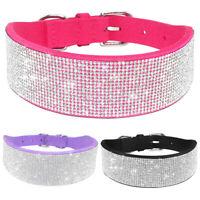 Full Bling Rhinestone Suede Dog Collars Diamante Necklace Medium Large Size S-L