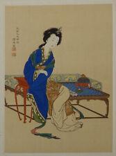 Genki Japanese color woodblock print Chinese Beauty