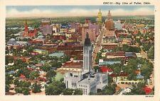 Postcard Tulsa Oklahoma Sky Line Aerial View Linen c1940s NrMINT