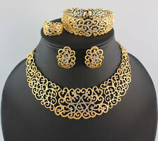 Fashion 18K Gold Plated Flower Rhinestone African Wedding Party Jewelry Set