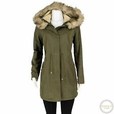 APC Army Green Waxed Cotton Faux Fur Trim Hooded Padded Parka Jacket M