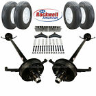 Tandem 5,200 lb Electric Brake Trailer Axle Kit Includes Trailer Tires & Wheels