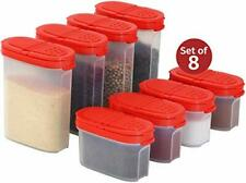 Plastic Spice Containers – Spice Jar Set 8 Pack, 4 Mini, 4 Large – Spice