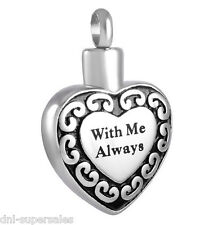 """2 Sets """"With Me Always"""" Urn Cremation Urn Memorial Stainless Pendant Ash Holder"""