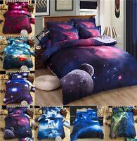 3D Starry Duvet Cover Set Bed Doona Cover Pillowcase Bedding Single Queen Size