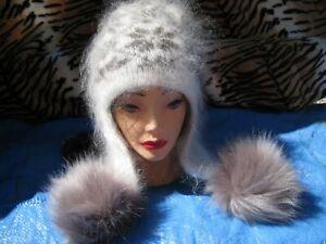 WOMEN's HAT beanie Shapka GOAT down handknitted Russian Ushanka craft fuzzy
