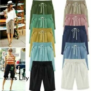 Womens Beach Plus Size NEW Length Casual Drawstring Trousers Chino Shorts Pants
