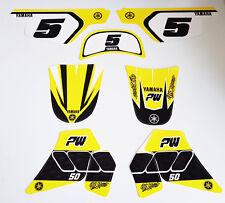 Sticker kit deco moto cross pour Yamaha PW50 PW 50 Jaune Qualité Standard