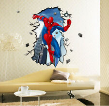 3D Spider Man Wall Stickers Wallpaper Decal Cartoon Mural Art Decor For Kid Room