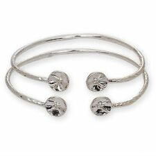 Drum Ends .925 Sterling Silver West Indian Bangles (Pair 22g) (MADE IN USA)