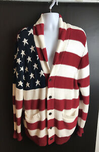 New $128 WINCHESTER American Flag Cardigan Sweater Blue Red USA Patriot 2XL