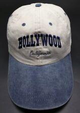 HOLLYWOOD, CALIFORNIA beige / blue adjustable cap / hat - 100% cotton