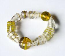 Armband, gelb-weiß, Glasperlen