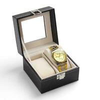 2 Grids Watch Display Case Jewelry Collection Storage Organizer Box Case Holder