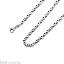 LP 1 Edelstahl Venezianerkette Boxkette Silberkette Damen Herren 60cm 2.5mm