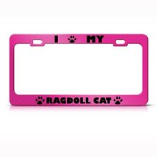 Ragdoll Cat Pink Animal Metal License Plate Frame Tag Holder