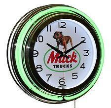 """Mack Trucks Bulldog Logo 15"""" Green Double Neon Clock Garage Man Cave Decor"""